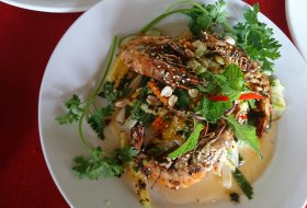 BBQ Prawn on Papaya Salad