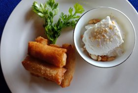 Jack fruit spring roll with coconut cream