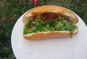 Vietnamese Baguette with pork ball and tomato sauce